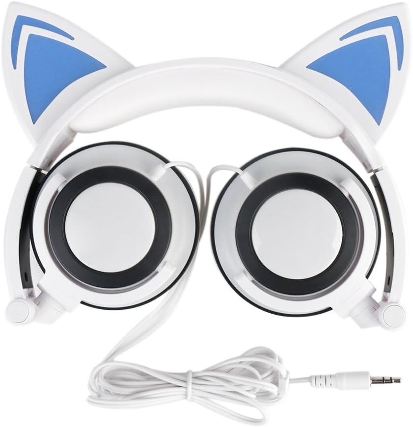 AOUTOS Katze Kopfh/örer Wiederaufladbare niedliche Katze Ohr Kopfh/örer mit LED blinkt gl/ühende Lichter faltbar /über Ohr Cos-Play Fancy Headsets Blau