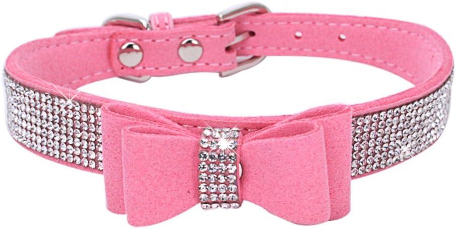 BONAWEN Crystal Dog Collar with Bow Tie Rhinestone Puppy Collars: