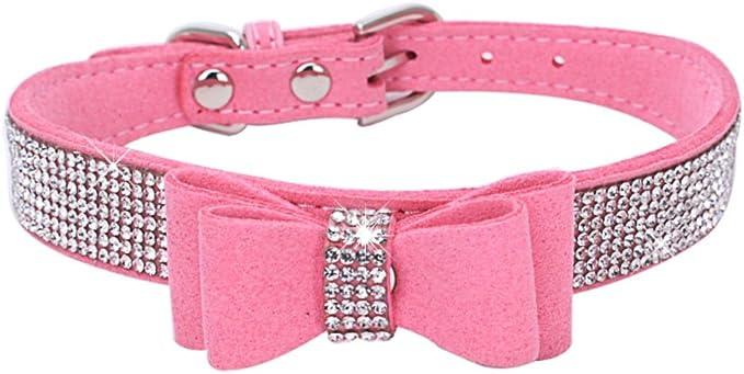 BONAWEN Crystal Dog Collar with Bow Tie Rhinestone