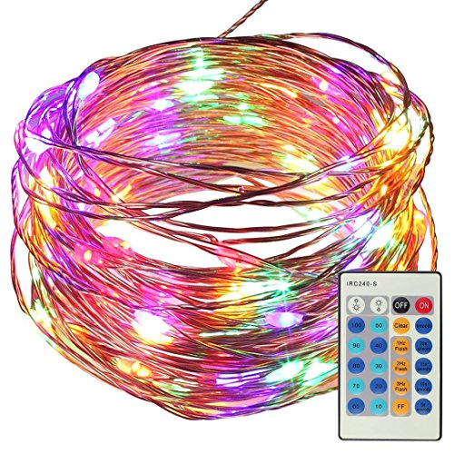 10 Meters 100 LED Copper Wire String Fairy Lights with Remote Control, SATUBROWN Dimmable Starry Light with Adapter for Home Decoration Party X'mas Tree Patio Wedding Valentines (Multicolored, Plug in)