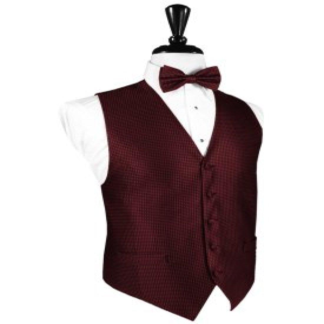 Silk Weave wine Tuxedo Vest and Bow Tie Size Xlarge