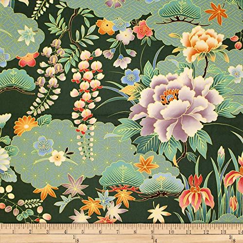 - Trans-Pacific Textiles Oriental Chrysanthemum Iris Fabric, Jade, Fabric By The Yard