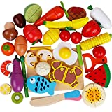 2 in 1 shop and cook playset - 32Pieces Pretend Magnetic Play Food Set Painted Wooden Cutting Fruits/Vegetables kitchen Learning Food Prep Kit for Toddlers pretend play kitchen