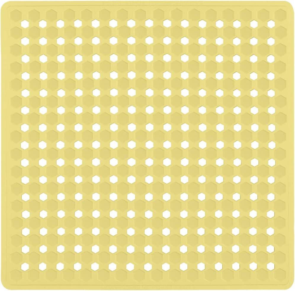 Gorilla Grip Original Patented Shower Stall Mat, Bath Tub Mats, 21x21, Machine Washable, Antibacterial, BPA, Latex, Phthalate Free, Square Bathroom Mats with Drain Holes, Suction Cups, Yellow Opaque