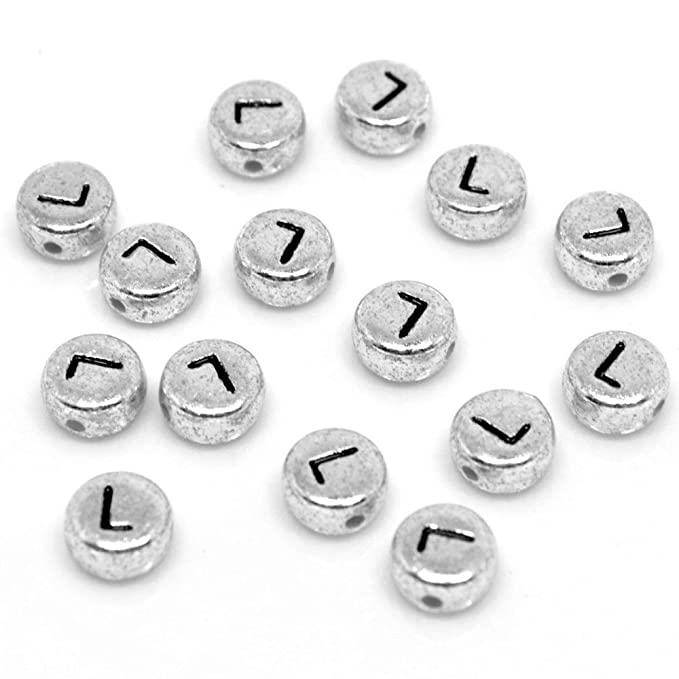 300 SILVER DISC Acrylic Single Letter A-Z Silver Alphabet Beads 7mm x 4mm