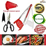 Vrusconi 2-In-1 Spatula Tongs Set: Silicone Spatula Tongs + Kitchen Shears + Measuring Spoons Kit| Heat Resistant Nonslip Kitchen Tongs/Grill Spatula for Bbq & Camping| Top Gifting Idea Kitchen Tools