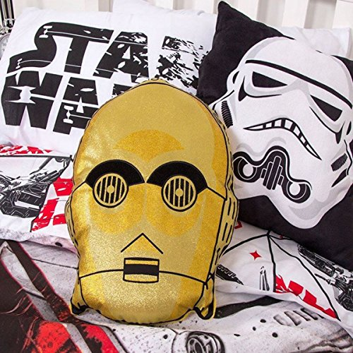 - Star Wars Episode 8 C-3po Design Shaped Cushion Pillow, Polyester-cotton, Gold,