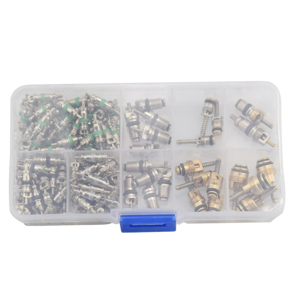 Jili Online 134 Piece Assorted A//C Schrader Valve Core and Tool HVAC R134a Kit in Portable Box
