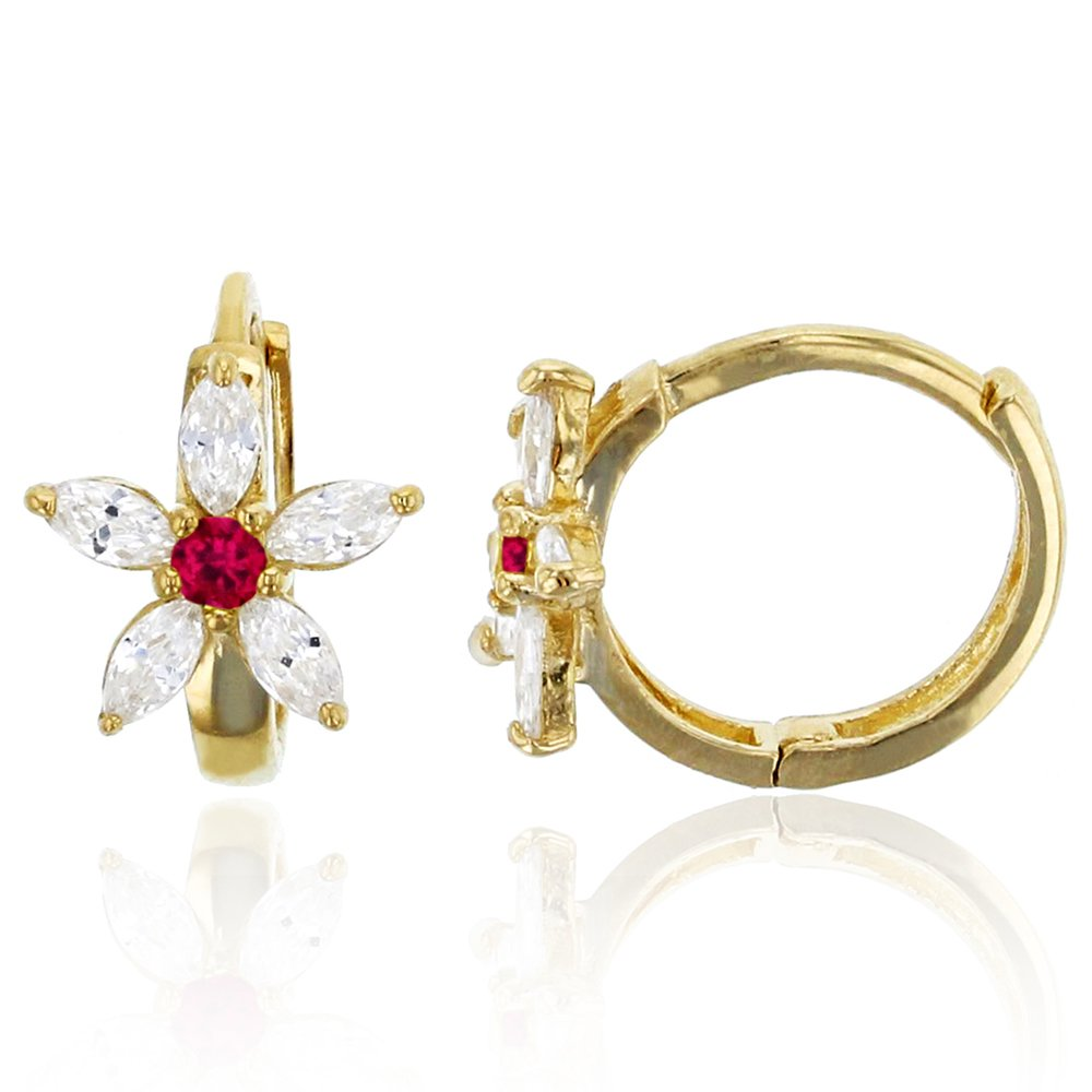 14K Yellow Gold 8x10mm Clear and Red Ruby CZ Flower Huggie Earring