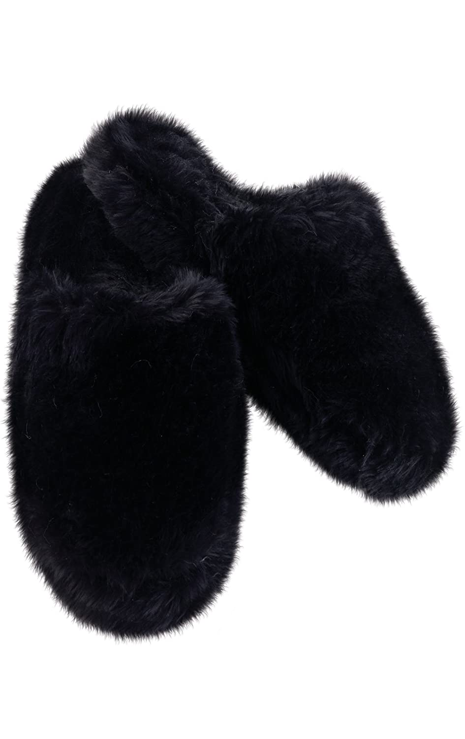 PajamaGram Fuzzy Slippers for Women Slip On Style Non Skid Soles Washable