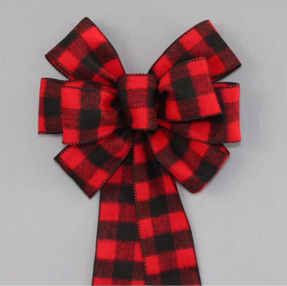 Red Black Flannel Buffalo Plaid Christmas Wreath Bow with Size Options