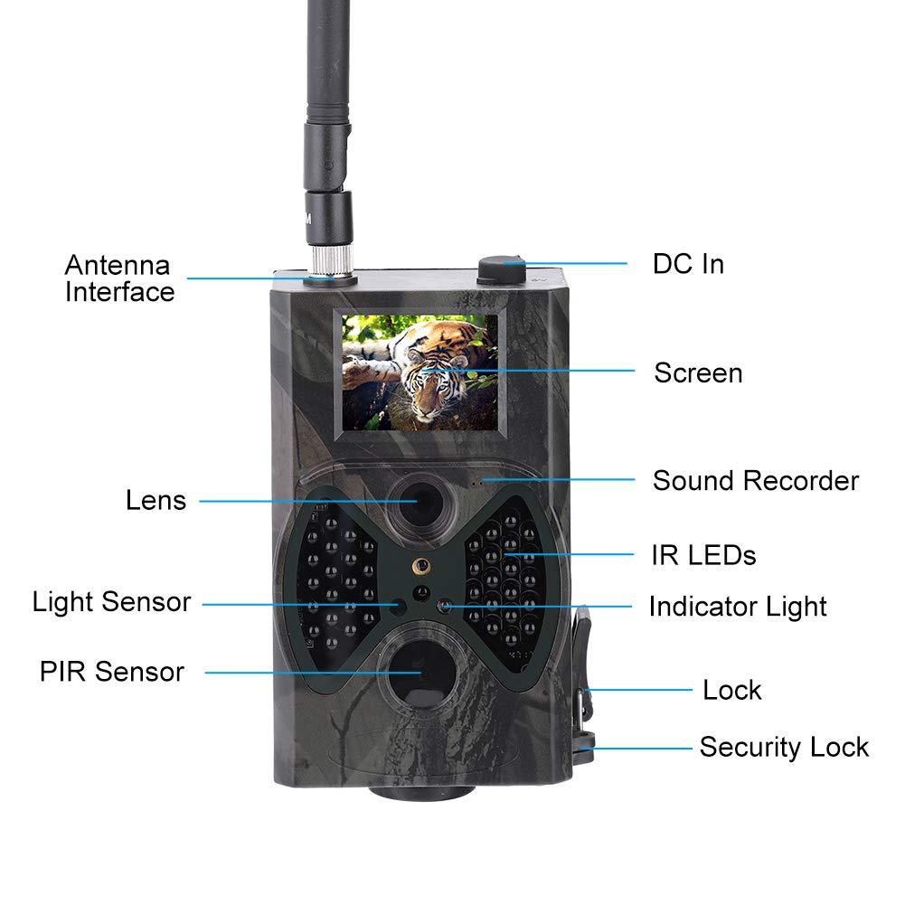 c/ámara de rastreo de Pantalla en Color de 16MP HD para monitoreo de Caza de Vida Silvestre Seguridad de Granja Dilwe C/ámara de Caza