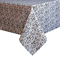 Eforcurtain Fashion Damask Gilding Tablecloth Durable Polyester Oblong Table Cover Home Decor for Parties, 60 Inch By 84 Inch, Blue