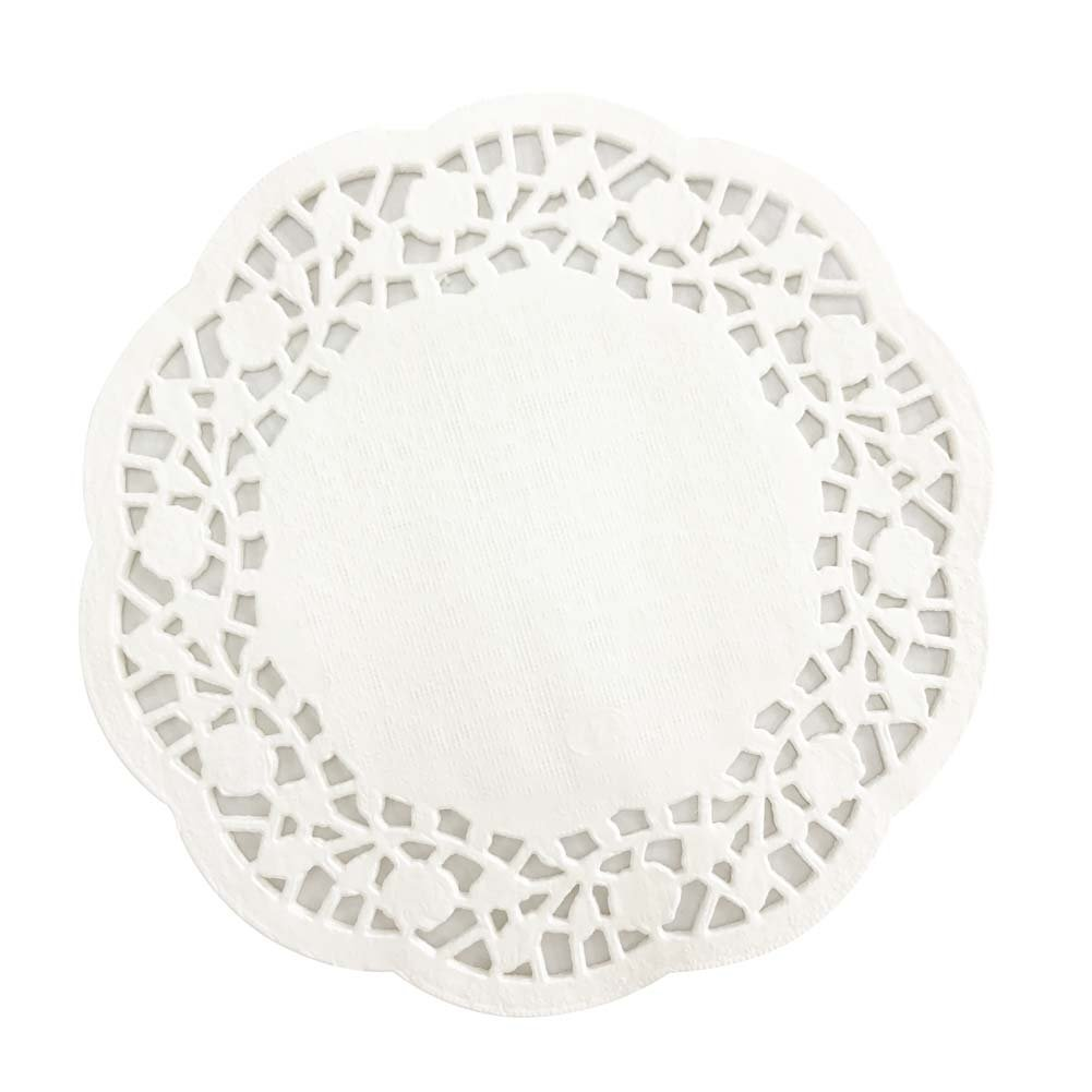 CONIE Kitchen Home 4.5'' Round White Lace Doilies Disposable Paper Doilies 400 Counts Paper