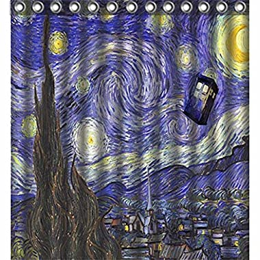Starry Night Van Gogh Police Box Tardis Doctor Who Polyester Bath Bathroom Shower Curtain Large 66  x 72  WATERPROOF, NOT FADING, NOT LEAKING, NOT SMELL, MACHINE WASHABLE