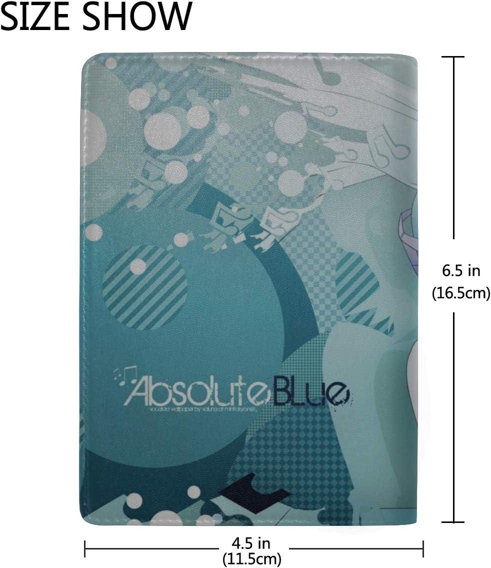 Hatsune Miku Girl Headphones Water Music Leather Passport Holder Cover Case Travel One Pocket
