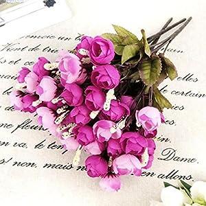 Connoworld--Home Artificial Rose Silk Flowers 18 Flower Heads Camellia Peony Bouquet Decor - Rose Red 7