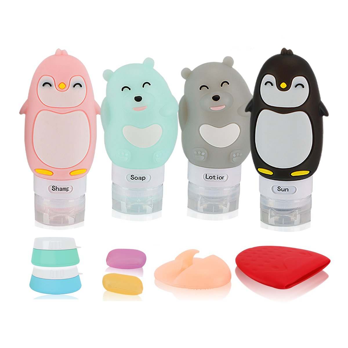 [Value 10PCS] Cute Travel Bottles Set 3 OZ Pretty Portable FDA approved TSA approved 100% BPA Free Leak Proof toiletry bottles Silicone cosmetic Containers Carry-on cream jars with lids (Bottles_Cute)