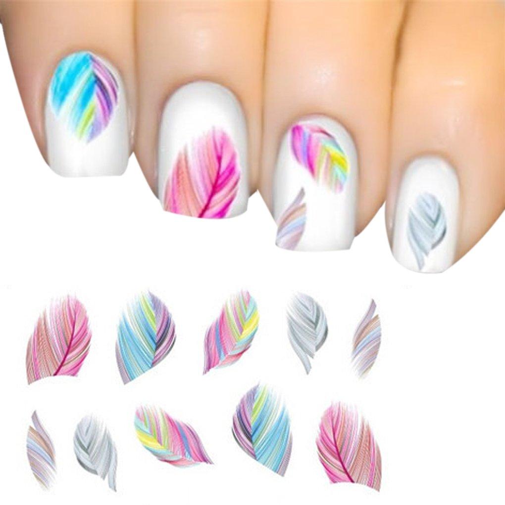 Plume Nail Art Autocollants Eau Transfert Stickers Estampage BRICOLAGE Décoration Outils LUFA