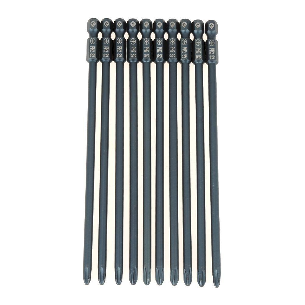 10pcs 150mm Long Phillips Screwdriver Bits Set S2 Steel 1/4inch Hex Shank Cross Head PH2 Magnetic Screwdriver Bits Set Tool Hilitand
