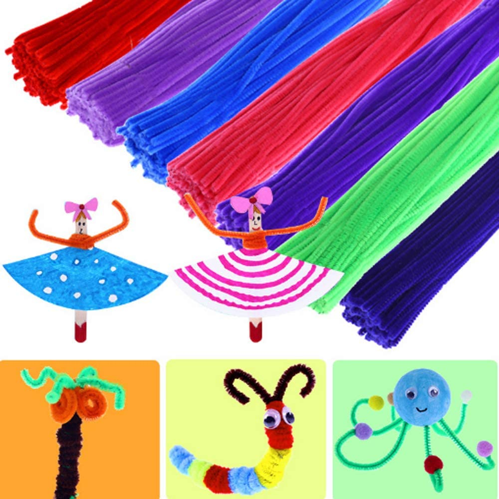 Blue-100pcs Guppyhill Pipe Cleaners 1Chenille Stems for DIY Crafts Decorations Creative School Projects