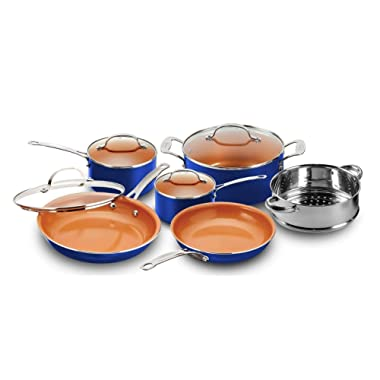 Gotham Steel 2128 - 10-Piece Kitchen Set with Non-Stick Ti-Cerama Coating by Chef Daniel Green - Includes Skillets, Fry Pans, Stock Pots and Steamer Insert – Blue