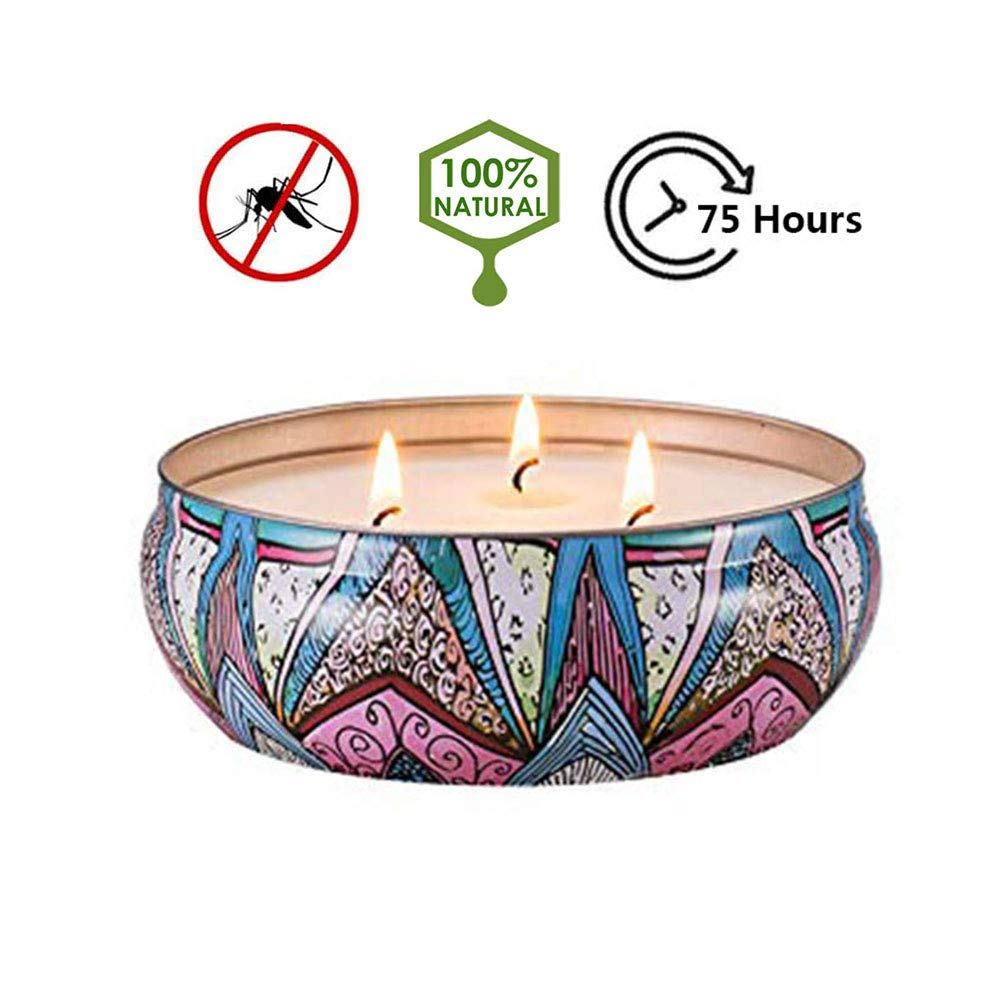 Himez Citronella Candles Outdoor Natural Scented Soy Wax Candles Travel Tin (3-Wick)
