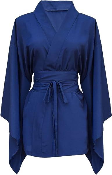 Camisa para mujer japonesa kimono 100% seda natural azul Talla única: Amazon.es: Ropa y accesorios