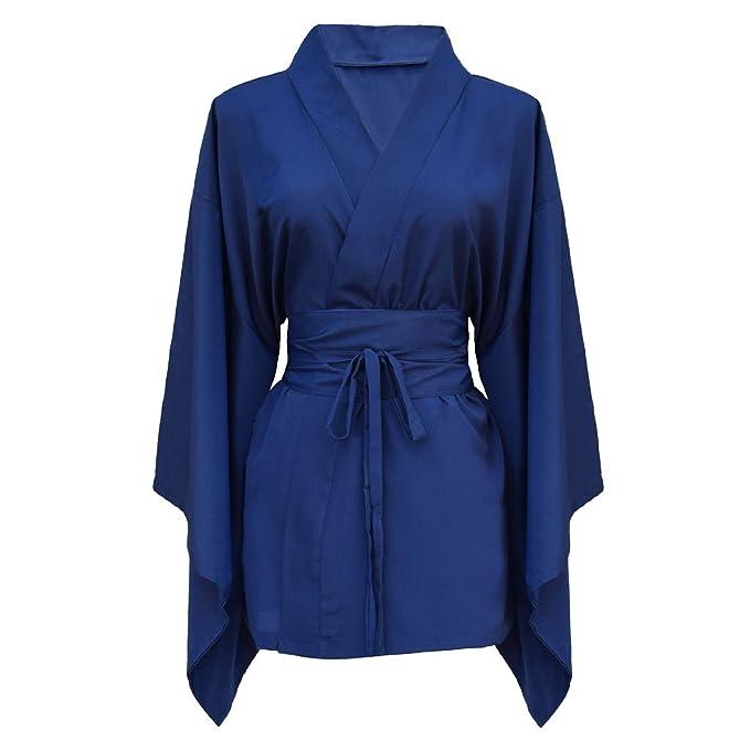 Camisa para mujer japonesa kimono 100% seda natural azul Talla única