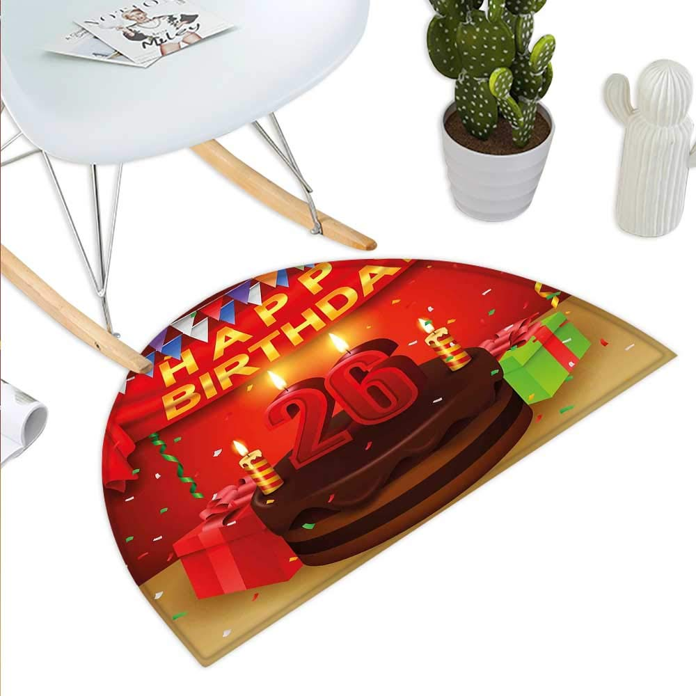color09 H 27.5  xD 41.3  25th Birthday Semicircle Doormat Vibrant Birthday Party Set Up colorful Ribbons and Balloons on The Ground Halfmoon doormats H 27.5  xD 41.3  Multicolor