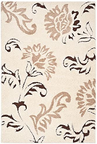 Safavieh Shag Flokati Collection Rug Cream Dark Brown 7 6 L x 5 3 W Medium Rectangle