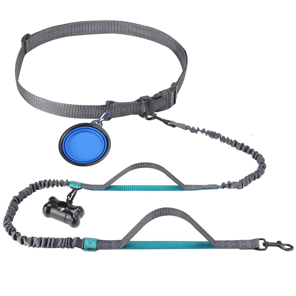 Newstarxy Hands Free Dog Leash, Free Control for Up to 150 lbs Dogs, Dual-Handles & Dual-Bungee Leash with Adjustable Waist Belt Dog Water Bowl & Waste Bag for Running Hiking Walking