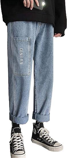 MengFanジーパ ンジーンズ メンズ ファッション 英字 通学 カーゴパンツ Gパン カジュアル 春 ボトムズ デニム ロングパンツ ストレート 九分丈 カジュアル アウトドア