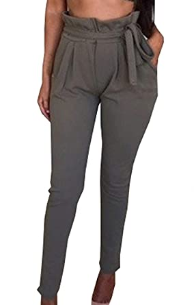 Pantalons Femme Long Élégant Pantalon Ete Taille Haute Uni Manche Pantalon  Sarouel Tendance Jeune Mode Streetwear Swag Classique Spécial Pants  Pantalon De