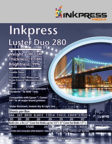 Inkpress Luster Duo - INKPRESS MEDIA Duo Luster 280 GSM, 9.5, 99 Percent Bright Paper (#LD3650)