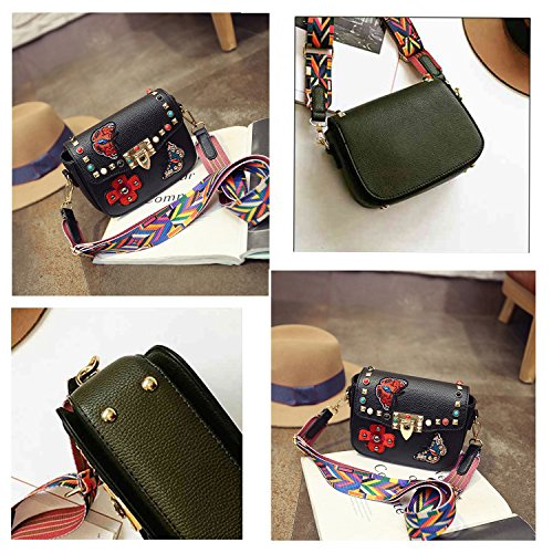 Bag Black Rivets Colorful Crossbody Square Women's Shoulder Embroidered Bags xPOfwqqzS
