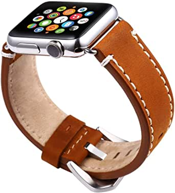 Unisex Leather Watch Strap for Apple Watch 38mm -brown