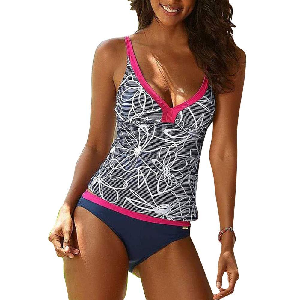 Highdas Damen Bikini Set Drucken Blumen zweiteilig Schwimmanzug Tankini Bademode Strand Bikini Oberteile + Höschen S-XXXXXL