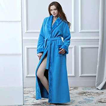 WJX Bata de Lujo para Mujer, Bata de baño, para Mujer, Bata Suave, Ropa de casa, Pijamas para Pareja,Blue,L: Amazon.es: Hogar