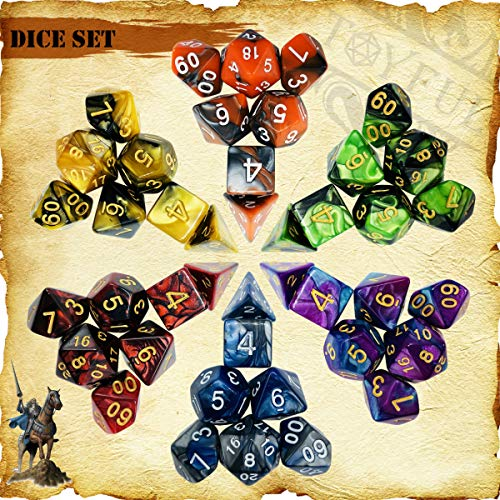 TOYFUL 6 Sets Double-Colors DND Dice Polyhedral Dungeons and Dragons DND RPG MTG Table Game Dice Bulk with Seven Free Drawstring Bags and D&D Dice Tower Gift Package Black