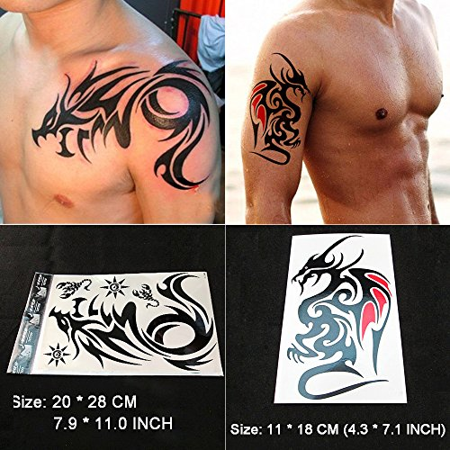 Kotbs 2 Sheets Large Dragon Temporary Tattoos Tribal Totem Body Tattoo Sticker for Men Women Waterproof Fake ()