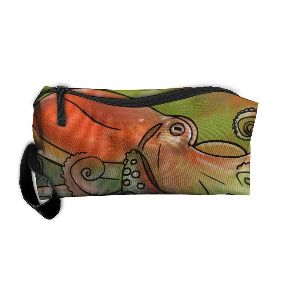 a7df704f28b8 delicate Orange Octopus Pattern Makeup Bag Printing Girl Women ...