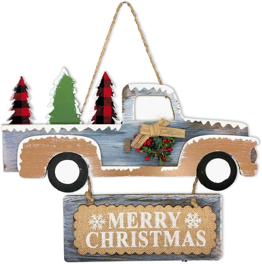 Santa's Studio Christmas Holiday Vintage Truck Hanging Sign - Seasonal Door or Wall Hang Decoration