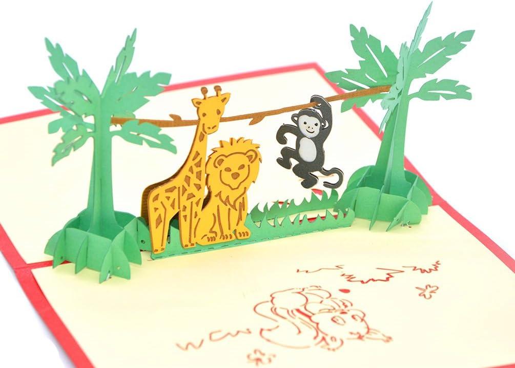 Medigy 3D Pop Up biglietti di auguri per fotocamera con biglietti per pi/ù Occastions animale da party