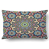 Emvency Decorative Throw Pillow Cover Case for Bedroom Couch Sofa Home Decor Moroccan style Mosaic tile Islamic traditional ornament Geometric Queen 20x30 Inches Moroccan Pattern