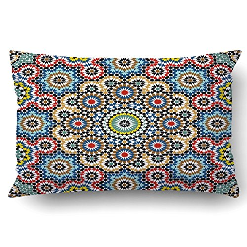Emvency Decorative Throw Pillow Cover Case for Bedroom Couch Sofa Home Decor Moroccan style Mosaic tile Islamic traditional ornament Geometric Queen 20x30 Inches Moroccan Pattern by Emvency