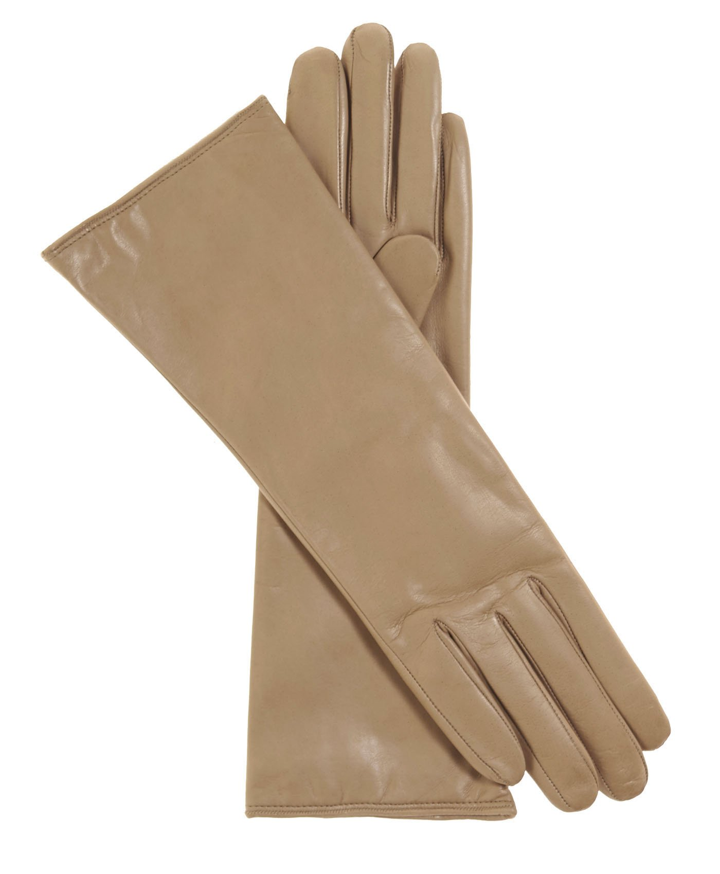 Fratelli Orsini Women's Italian ''4 Button Length'' Cashmere Lined Leather Gloves Size 6 1/2 Color Beige