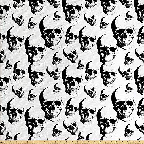 Lunarable Skull Fabric by The Yard, Skulls Pattern Monochrome Detailed Sketch Human Skeleton Head Fear Halloween Theme, Decorative Fabric for Upholstery and Home Accents, 2 Yards, Black White -