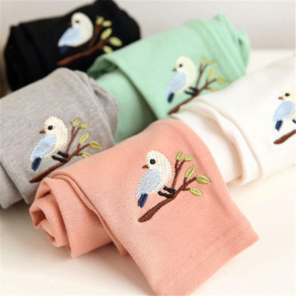 Cotton Pencil Pants Cute Bird Print Lined Elastic Waist Pantskirt Girls Stretchy Leggings