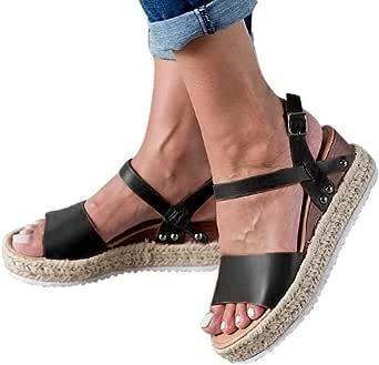 Gibobby Womens Espadrilles Sandals Flats,Women's Platform Sandals Espadrille Wedge Summer Ankle Strap Studded Open Toe Sandal